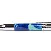30 Caliber Bolt Action Rifle Chrome ballpoint shown with Denim Swirls Lava Lamp acrylic