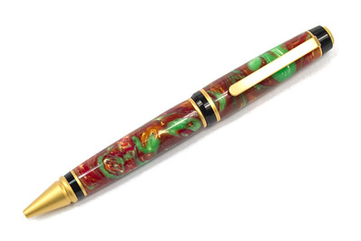 Cigar Satin Gold ballpoint shown with Copper Gecko Lava Explosion
