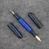 Double Ended Pen in Denim Ebonite with Solid Blue Translucent barrel