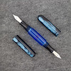 Double Ended Pen in Pearlized Midnight Blue with Solid Blue Translucent barrel