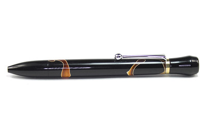 Nevus Chrome Ballpoint shown with All Hallows Eve (Obsolete Batch) Bear Tooth Wood acrylic