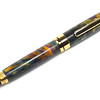 Round Top 8mm Euro Titanium Gold Fountain Pen shown with King Cake Lava Explosion acrylic