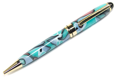 Round Top 8mm Gold Pen shown with New Turquoise Moon Bear tooth Woods acrylic