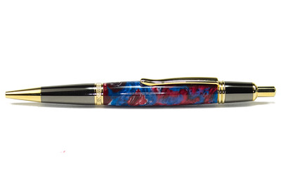 Sierra Button Click Gunmetal with Gold Ballpoint shown with Union Jack Lava Explosion