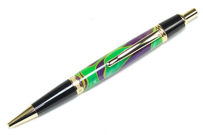 Sierra Button Click Gold Ballpoint shown with Bourbon Street blank