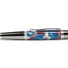 Sierra Button Click Pencil Black Titanium with Platinum shown with Blue Brick Lava Explosion
