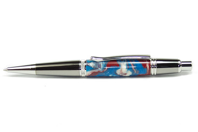 Sierra Button Click Pencil Black Titanium with Platinum shown with Blue Brick Lava Explosion