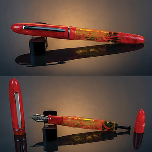 Menlo Draw Filler in Fireball Acrylic with Orange Swirl Translucent Ink View