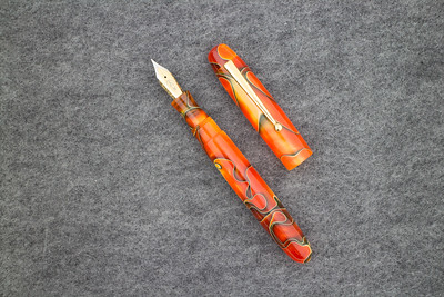 Collier Rollerball in Persimmon Swirl Acrylic