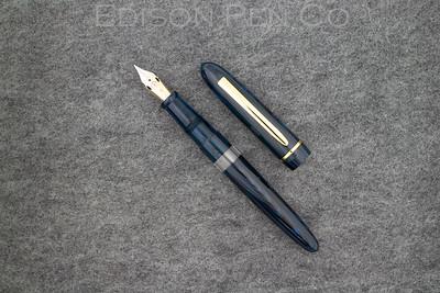 Menlo Draw Filler in Denim Ebonite with Clear Ink Window