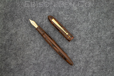 Bandless Menlo in Chestnut Ebonite with Collier style clip and custom engraving.
