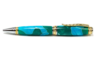 Ultra Cigar Upgrade Gold with Chrome Accents Pen shown with Sea Foam acrylic