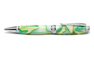 Ultra Cigar Satin Chrome/Chrome Pen Kit  shown with Key Lime acrylic