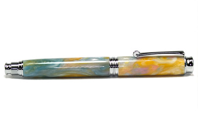 Virage Chrome Fountain Pen shown with Fairy Dust Woodshed
