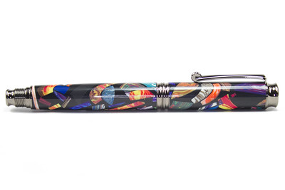 Virage Gunmetal Rollerball shown with Mosaic Explosion in Black Amalgamutt blank