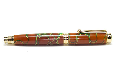 Virage Gold Fountain Pen shown with Autumn Leaves (Batch 3) Acrylic