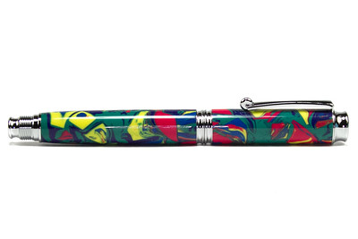 Virage Chrome Rollerball Pen shown with Circus in Blue and Green Amalgamutt