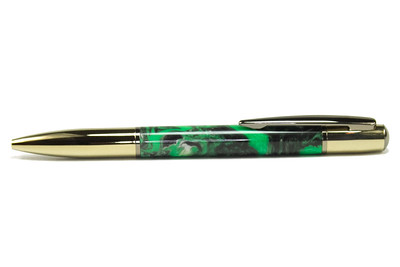 Yari Hardite and Gunmetal Ballpoint shown with Emerald Isles Beyond Wood Product
