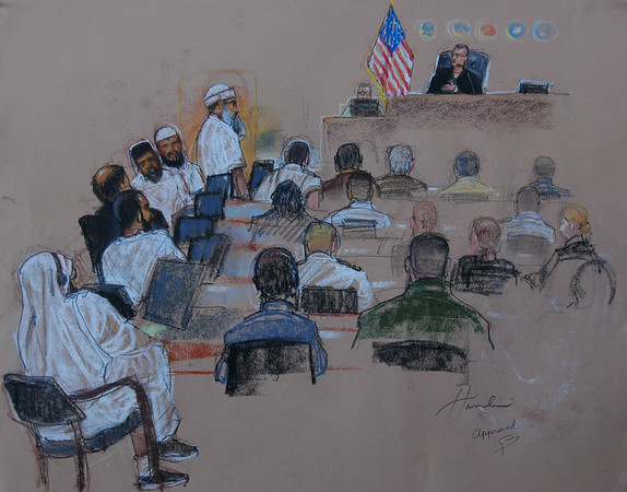 911 Mastermind Khaled Sheihk Mohammed in court  (court sketch by Janet Hamlin)