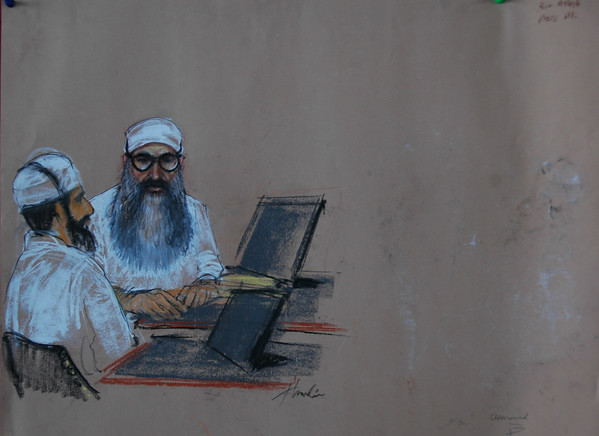 911 Mastermind Khaled Sheihk Mohammed in court  (court sketch by Janet Hamlin)