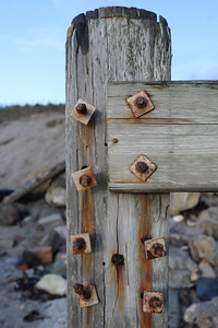 Rusty bolts at Pentewan