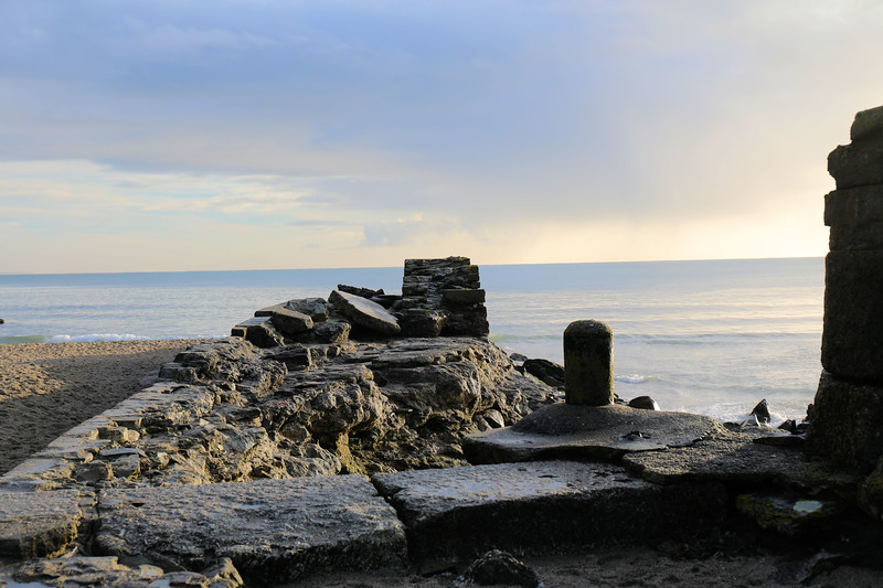 Remains of breakwater at Pentewan