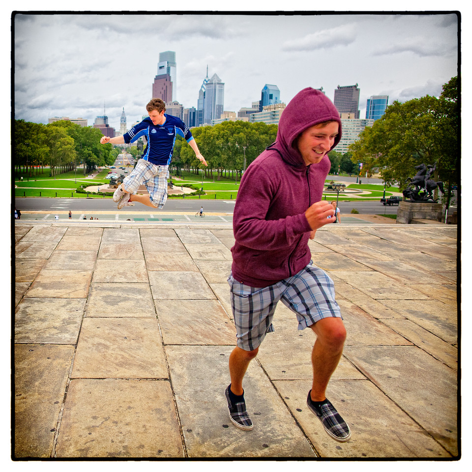 Jumping and running on the Rocky Steps (Phil. Art Museum)