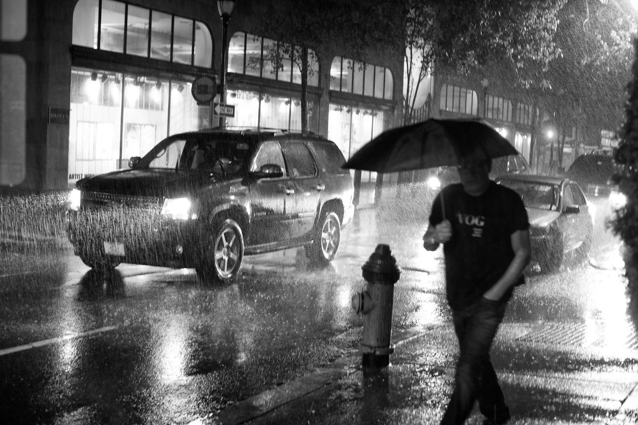 Philadelphia city scene during Hurricane Irene