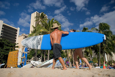 Waikiki beach, the classic surfteacher