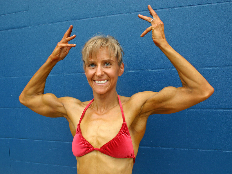 Sheryl - natural bodybuilder, after her show in Redford, Michigan