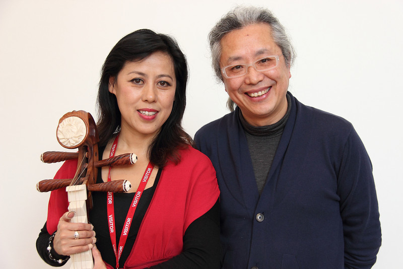 Cheng Yu, P'ipa player (left) and Guo Le, artist - just after a session of painting inspired by live music at the V&A Museum