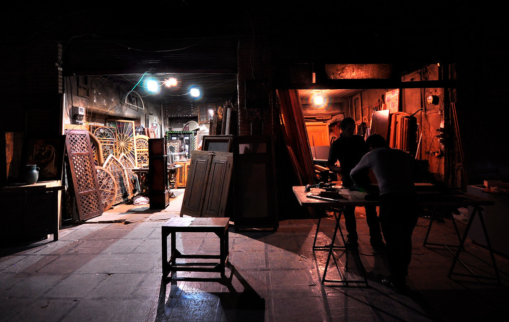 Door and window repair shop, Isfahan, Iran