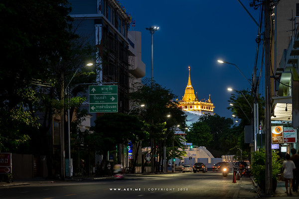 Phukhao Thong, Wat Saket view from Phra Sumen Road