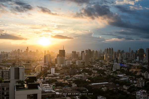 Skyline of Bangkok view from the Jasmine Grande Residence