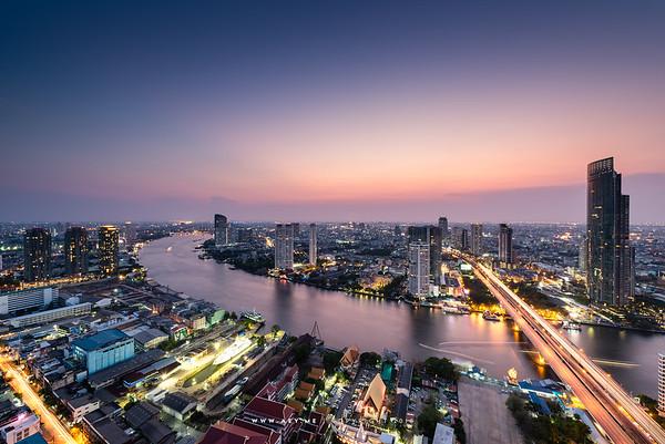 Twilight at Bang Rak and Chao Phraya River