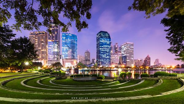 Cityscape of Bangkok view from Benjakitti Park
