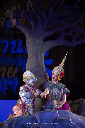 "Hanuman and Swaha (or Anjani - Mother) Khon Masked Drama ""Hanuman Charn Kamhaeng"" by Khon Sala Chalerm Krung, Songkran Festival"