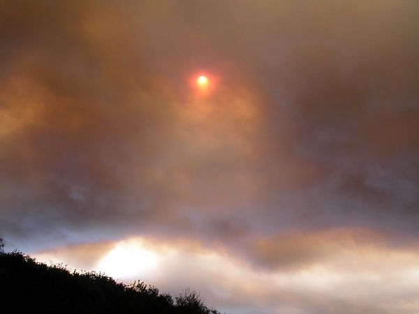 It's early afternoon. The sun looks red through the billowing smoke.