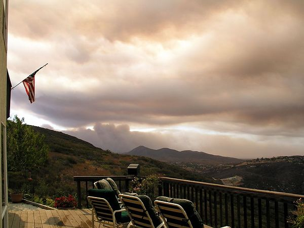 This is our deck facing west. We can see the Otay Lakes fire to the south of us.