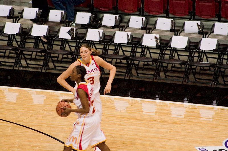 Jayne Appel, No. 3, playing for the West Team in the McDonalds All American High School Basketball game.