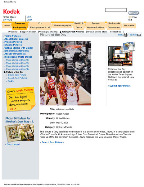 Here is a picture of the Kodak web page on May 7, 2006.