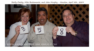 Smugdinner Wed. April 8, 2009 (Day 358)  John is in town this week.  So we got together for dinner at Rudi Lechner for some Spaten.  Shelly & Mike, thanks for coming out! We need to do this more often.    From left to right:  *   Shelly Chetty (SPCcreative),  *  Mike Bustamente (Megamike), and  *  John Murphy (John300m)  Countdown to day 365... Today is 358!  Thanks for holding up the numbered napkins, guys!!!