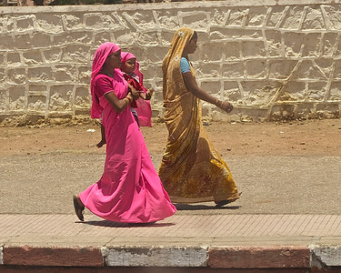 Women on a train platform in central India.