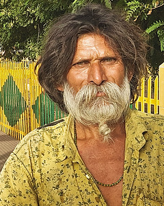 This man was with the family living on the train platform in Ranthambore.
