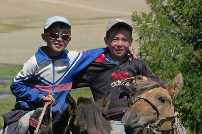 Two young Mongolian horsemen in the Ger Camp at Khoton Nuur, NW Mongolia