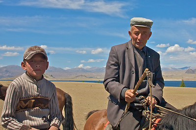 Father and son from Ger camp at Khoton Nuur base camp, NW Mongolia