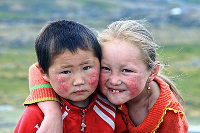 Tuvan Children--Brother and Sister--from Ger Camp near Russian Border in NW Mongolia