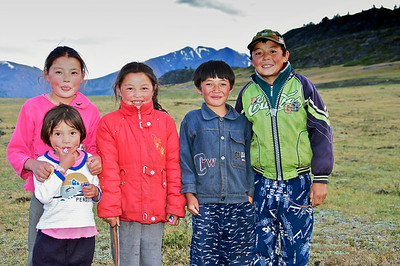Children from Nearby Ger Camp at Aral Tolgi, NW Mongolia