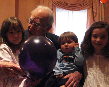 Great grand niece and nephew, Halle and Trace Aiken and Alexis Sullivan with Isadore Millstone 100 th birthday