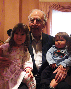 Great grand niece and nephew, Halle and Trace Aiken with Isadore Millstone 100 th birthday, January 7, 2007
